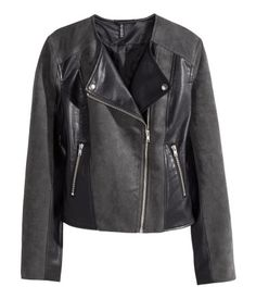 Leather & Suede Biker Jacket   H&M US