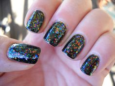 Maybelline Colorama-Blazes of Crystal over Orly Liquid Vinyl