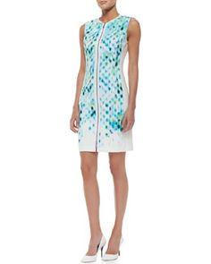 T82ZL Elie Tahari Mila Sleeveless Primavera-Print Cotton Sheath Dress