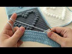 Kaynana örmez gelin giymez kalpli örgü modeli bayan yelek modelleri için ideal olmasına rağmen birçok örgü çeşitlerinde kullanılabilir çok güzel bir Bobble Stitch Crochet, Crochet Pouf, Crochet Motifs, Crochet Square Patterns, Crochet Cushions, Easy Knitting Patterns, Filet Crochet, Crochet Blanket Patterns, Crochet Baby