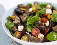 Japanese Eggplant Salad with Sun Gold Tomatoes, Feta and Mint -- great with red wine!