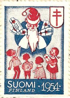 Näitä joulumerkkejä on myyty Suomen Tuberkuloosin Vastustamisyhdistyksen hyväksi. Tuberkuloosi oli Suomessa verraten yleinen sairaus 1950-lu...