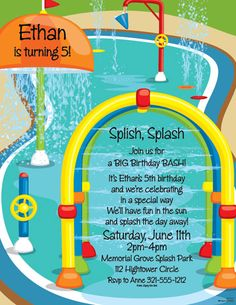 This is such a perfect design for a young child's birthday party at a splash park. Affordable too!