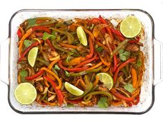 """These Easy Oven Fajitas are a simple """"set it and forget it"""" way to get that smoky sweet flavor of traditional griddle fajitas. Step by step photos. Mexican Food Recipes, Vegetarian Recipes, Cooking Recipes, Healthy Recipes, Mexican Dishes, Protein Recipes, Fun Cooking, Cooking Ideas, Yummy Recipes"""