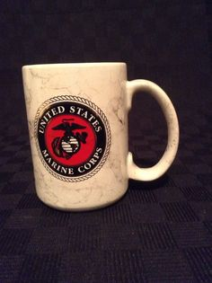 United States Marine Corps Ceramic Grey Marbled Look Coffee Cup Mug