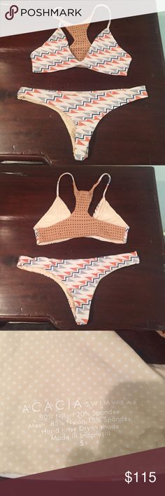 Acacia Swimsuit Acacia Swimsuit in perfect condition! Only worn once. Absolutely no pilling or snags. The bottoms are the Axel style in medium and the top is a small. The pattern is called the Ziggy. Thank you for looking! acacia swimwear Swim Bikinis