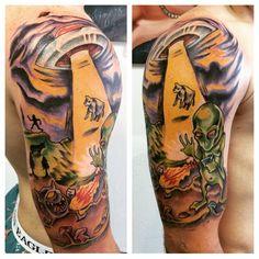 Alien Invasion tattoo! Start of an alien themed sleeve. Aliens exist!