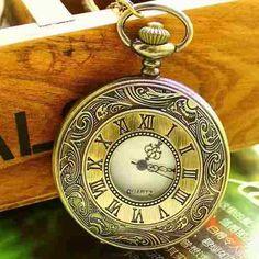 lindo relógio de bolso bronze n° romanos quartzo detalhado
