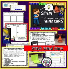 STEM Wind Car Lab is an activity that engages students in thinking through the Engineering Next Generation Science Standards. Poster of the standards are included. Students plan and construct a wind car using only a few productive resources. Economics is integrated into the lab through discussions and understanding scarcity, human, natural, and capital resources. Students collect the data of the distance their cars traveled and then find the mode, median, mean, and range of their data.