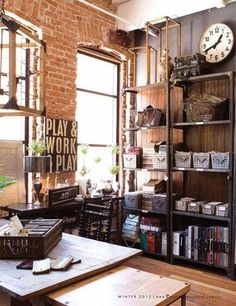 Industrial Home Offices, Industrial House, Vintage Industrial, Industrial Style, Industrial Design, Cool Office Space, Office Workspace, Office Spaces, Work Spaces