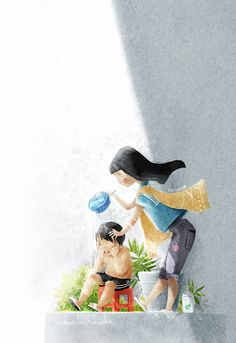sister and brother by tamypu on DeviantArt Illustration Story, Illustration Sketches, Family Painting, Sketch Painting, Cartoon Pics, Deviantart, Beautiful Paintings, Cute Art, Cute Pictures