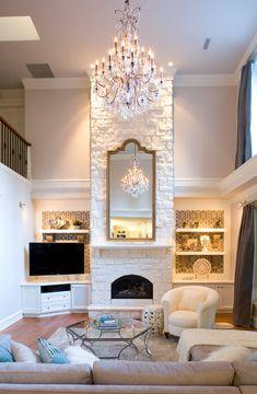 mirror over fireplace decorating idea