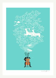 The Cellist Print by ilovedoodle on Etsy