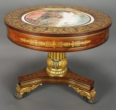 Empire center table rosewood brass inlay gilt stencil painted tondo (c Victorian Furniture, Antique Furniture, Classic Furniture, Fine Furniture, Center Table Living Room, Empire Furniture, Duncan Phyfe, Teak Table, Antique Decor