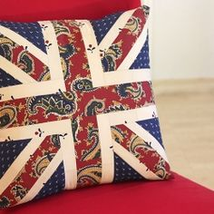 Celebrate the 2012 Olympics! Make your viewing couch super comfy with a Union Jack patchwork cushion.