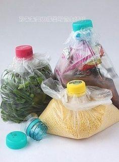 Пробка от пластиковой бутылки, как зажим для пакета