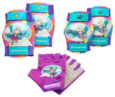Kids' Cycling Protective Gear - Schwinn Girls Pad Set with Knee Elbow and Gloves *** Click on the image for additional details.