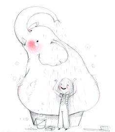 Kai Fine Art is an art website, shows painting and illustration works all over the world. Illustration Mignonne, Children's Book Illustration, Character Illustration, Art Mignon, Elephant Art, Cute Drawings, Cute Art, Painting & Drawing, Character Design