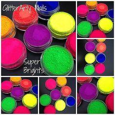 Single 10ml Pot Super Bright Neon Pigment Powder for mixing  Acrylic Gel Nails $2.99