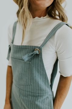 Blue pinstriped jumper with knotted strap ties - Pando Grove