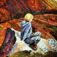 """Catching his breath"" Boy resting on a rock on his way down Ben Rhinnes, Scotland by Rachel Wright This original machine embroidery is based on a photograph my husband took of one of our sons resting after conquering his first mountain. #embroidery #textileart #machineembroidery #RachelWright #BenRhinnes #Scotland"