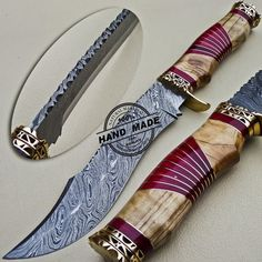 Damascus Bowie Knife Custom Handmade Damascus Steel Hunting Damascus Bowie Knife With Cow and Red Wood Handle Leather Sheaths 1613 Only On Damascus Knives Shop. Cool Knives, Knives And Tools, Knives And Swords, Pretty Knives, Damascus Knife, Damascus Steel, Trench Knife, Beil, Best Pocket Knife