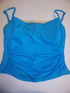 Tankini Swim Top Size 10 Teal Swimsuit Tummy Hiding Blue Underwire Cups Blue  #Miraclesuit #TankiniTop