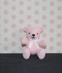 Tiny Felt Jointed Teddy Bear Light Pink with white bow by TinyPets, $12.00
