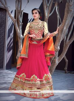 Festal Hot Pink Patch Border Work A Line Lehenga Choli