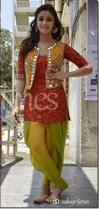Alia Bhatt sho pretty cute in Kurti, Dhoti Salwaar & Tribal Vest by http://ArpitaMehta.in/