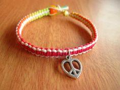 Peace Hemp Bracelet Peace Heart Charm Macrame by JackZenHempWorks