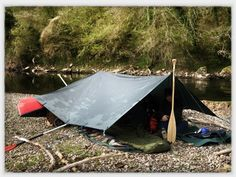 Tarp shelter, canoe camp