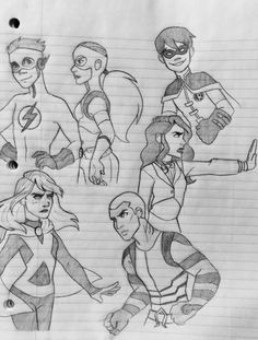 Young Justice doodles - by emkayohh
