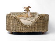 Raised Oval Rattan Dog Bed by Charley Chau
