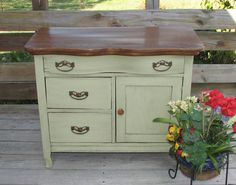 Upcycled Antique Oak Washstand Dry Sink Commode By Shabby Home Furniture