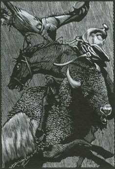 "A Buffalo Hunt, by Barry Moser, from illustrations for ""Cowboy Stories,"" 2007, woodcut."