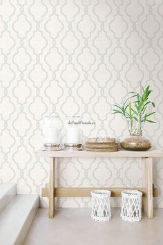 Kenneth James Geometric Jute White Quatrefoil Wallpaper Sample - The Home Depot - Moms living room - Accent Wallpaper, Dinning Room Wallpaper, Foyer Wallpaper, Farmhouse Wallpaper, Diy Home, Home Decor, Accent Wall Bedroom, Wallpaper Samples, Quatrefoil
