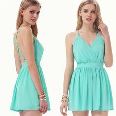 Mint Green Spaghetti Strap Backless Pleated Dress