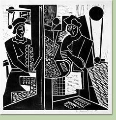 ✽ 'machine shop' - fritz brandtner - linocut - 1938