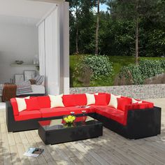 Modway Lambid 7 Piece Outdoor Patio Sectional Set in Expresso Red