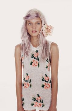 A Purple-Haired model wearing  a floral dress from the wildfox white label spring/summer 2012 // #pixiemarket.com