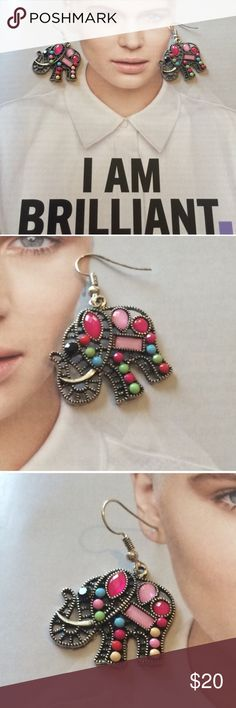 "Pink Elephant Earrings Elephant Textured Gem Earrings in antique silver with hot pink and mixed pastel faux gems. Approximately 1"" x 1.5"" size of elephant. NWT Boutique The Honeybee Outlet Jewelry Earrings"