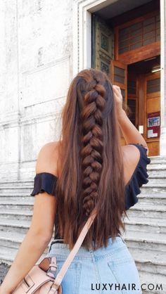 Dutch Braid Hair Tutorial - added wefts of Seamless Luxy Hair extensions in Chocolate Brown for added thickness # long Braids dutch How To Do a Dutch Braid: Hair Tutorial For Beginners Hair Extensions Tutorial, Luxy Hair Extensions, Braided Hairstyles Tutorials, Box Braids Hairstyles, Braid Hair Tutorials, Wedding Hairstyles, Braids In Hair, Dance Hairstyles, Fashion Hairstyles
