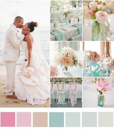 More dusky, less pastel...  Beach Wedding Colours To Fit Your Style | Bajan Wed. Inspiration Board- blush, pink and blue tones.