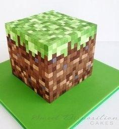 Minecraft cake. For adam's b-day - with rice krispy treats!!