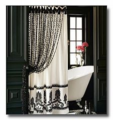 Ordinaire Interior And Decor , Stylish Bathroom Shower Curtains : Black And White Bathroom  Shower Curtains In Black Bathroom With White Clawfoot Tub