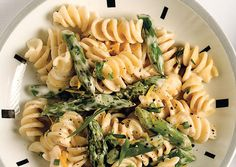 Pasta with Goat Cheese, Lemon, and Asparagus  This creamy pasta gets a bright lift from lemon zest. Don't be tempted to buy pre-crumbled goat cheese, despite the time savings—it won't melt as well.