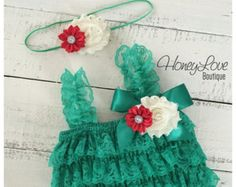 Christmas Outfit - Green Lace Petti Romper & matching headband satin rhinestone shabby flower - newborn infant toddler baby girl Santa photo
