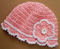 "New Pink Flower Baby Doll Hat Preemie Newborn Girl 0-1mo ""Soft Cotton Wool knit"