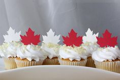 Make Canada Day extra special with these must-have party essentials. Canada Day 150, Canada Day Party, Happy Canada Day, Canadian Party, Canadian Food, Cupcakes, Cupcake Cakes, Cupcake Toppers, Canada Birthday